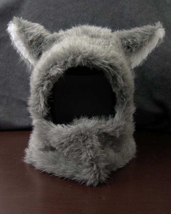 Faux fur squirrel headpiece after shaving.