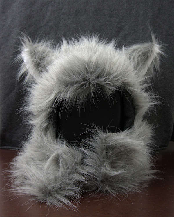 Faux fur squirrel headpiece before shaving.