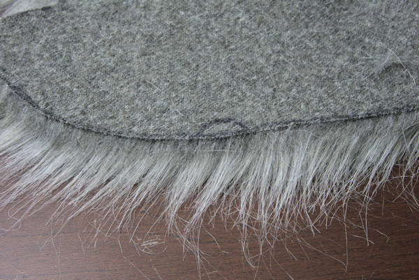Backside of faux fur cut correctly.
