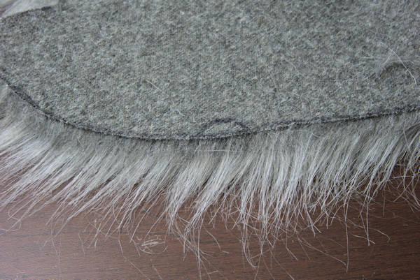 Backside of faux fur cut correctly.