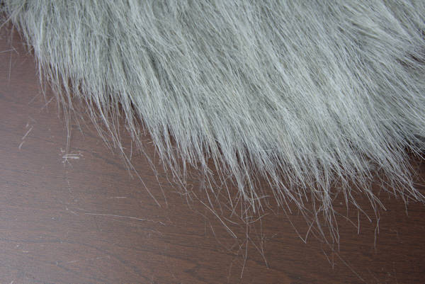 Front side of faux fur cut correctly.