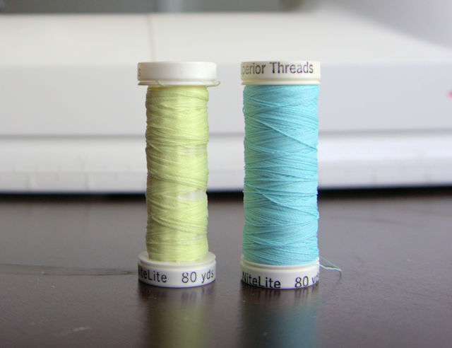 Glow-in-the-dark thread in daylight.