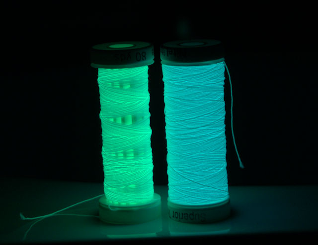 Glow-in-the-dark thread glowing in the dark.