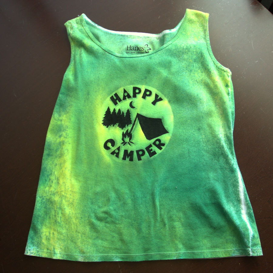 Green mottled tank top with Happy Camper design on front