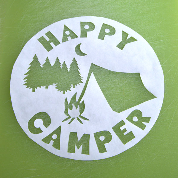Happy camper stencil all cut out