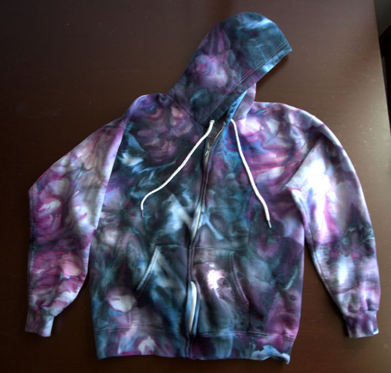 Front of purple, blue, black, and pink ice dyed sweatshirt