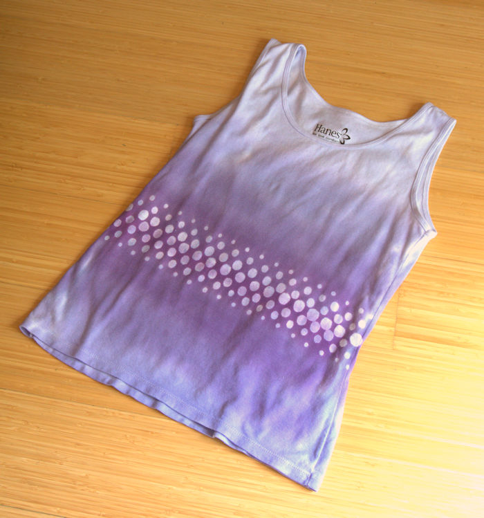 Tank top with purple gradient and rows of white dots through the center