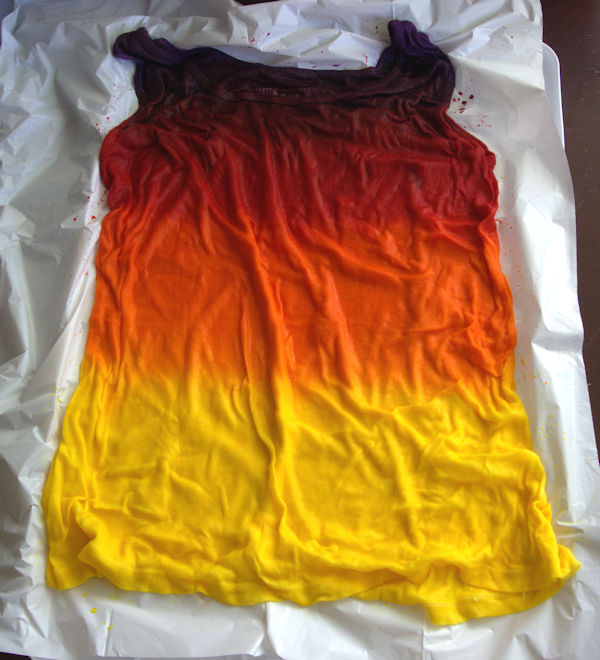 Tank top with purple, red, orange and yellow stripes of dye