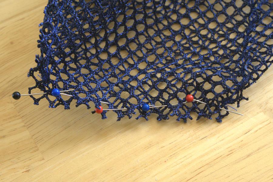 Bottom of the mesh side, pinned