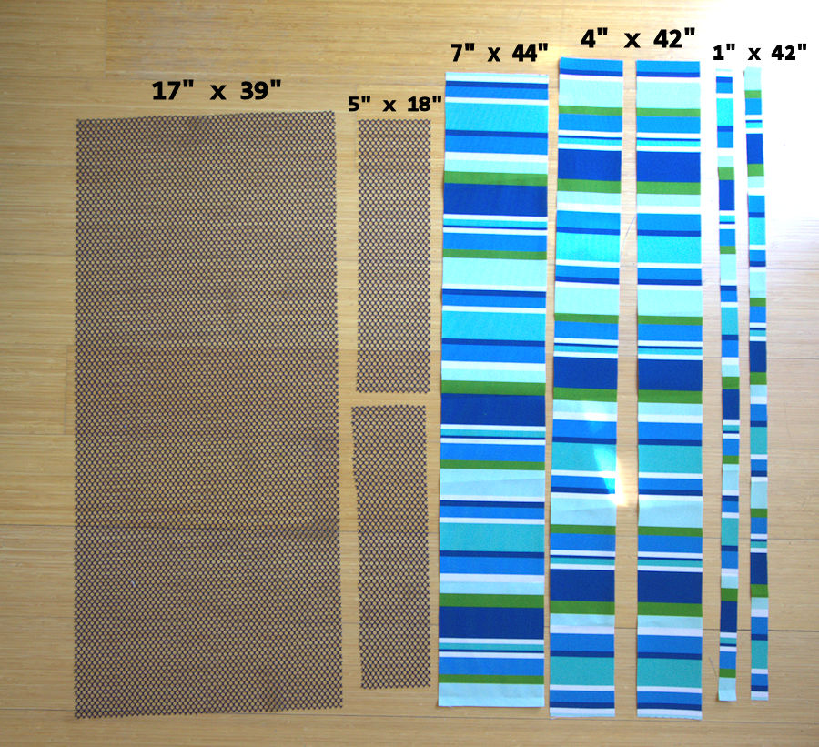 Measurements and visual of cut out fabric pieces