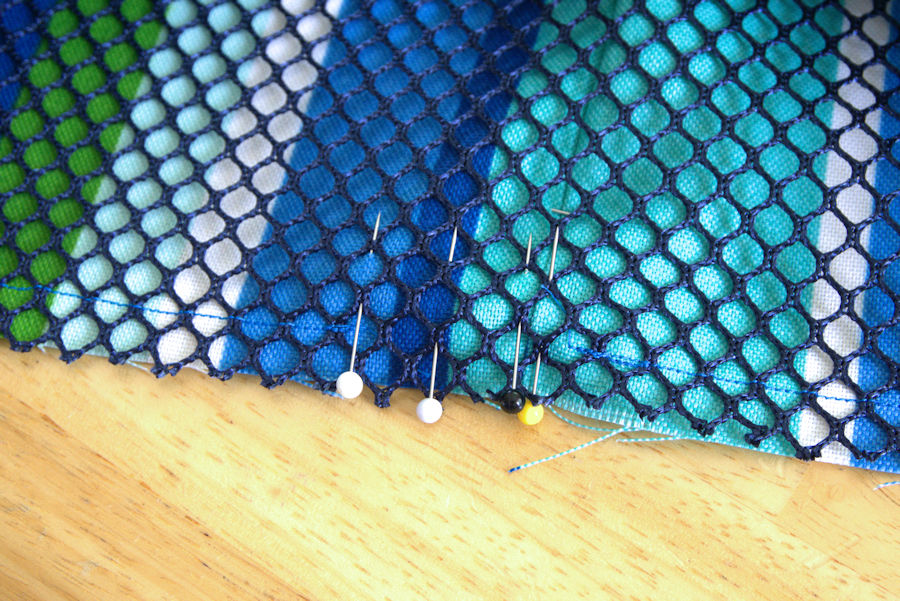Pins in the gap of stitching