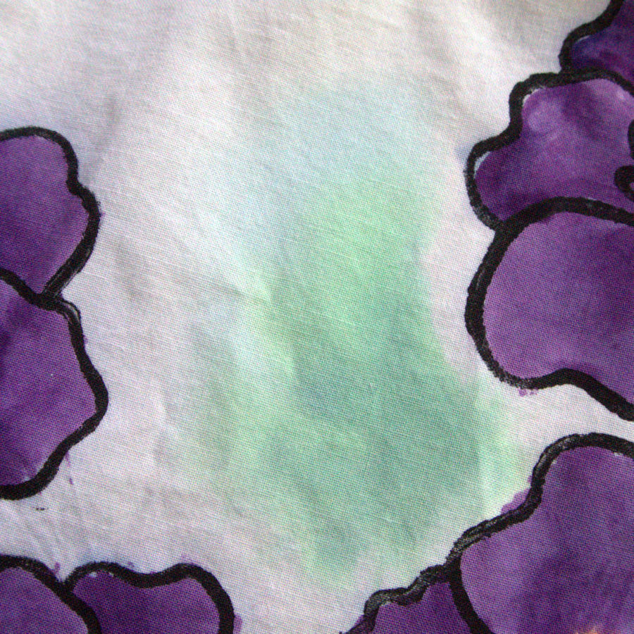 Watercolor green dye on fabric