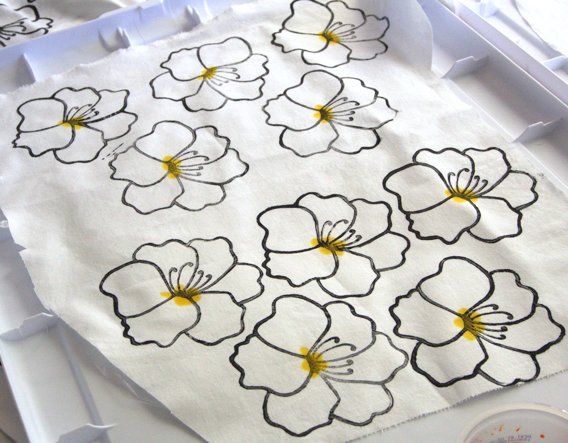 Printed flowers with painted yellow center