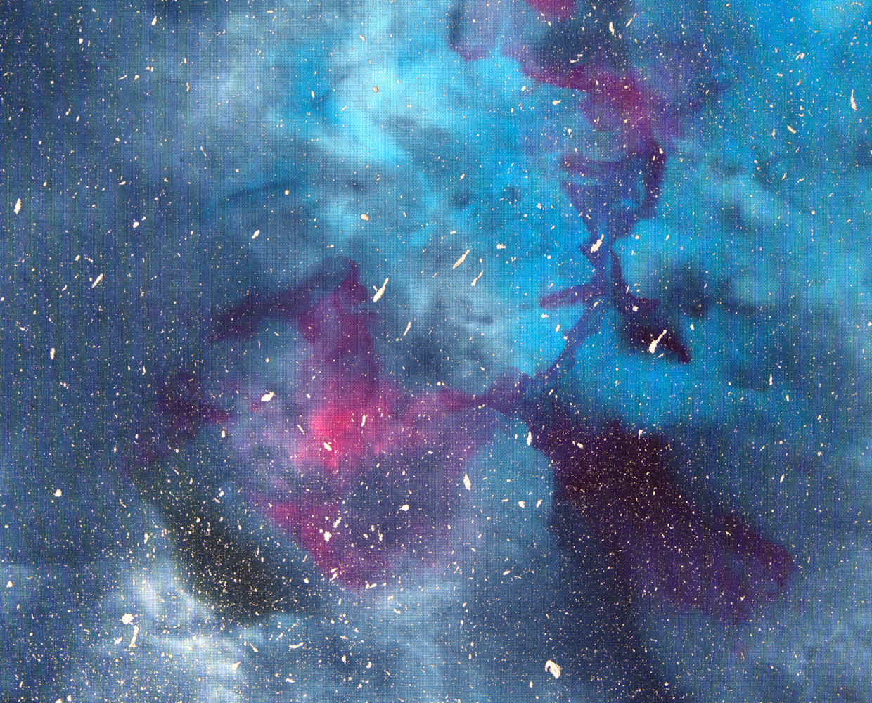 Black, blue, turquoise and pink galaxy dyed on fabric