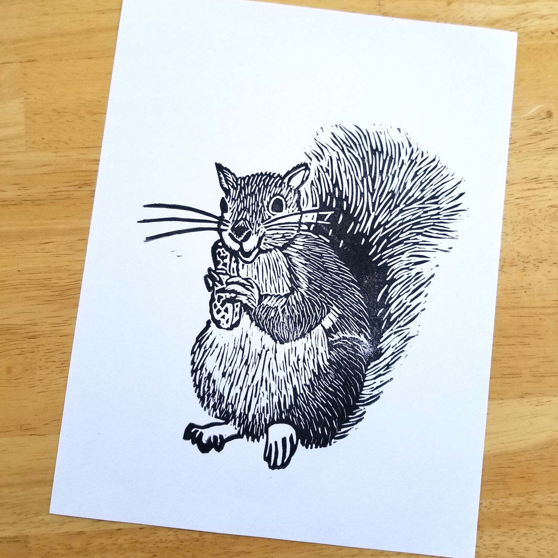 Squirrel linocut
