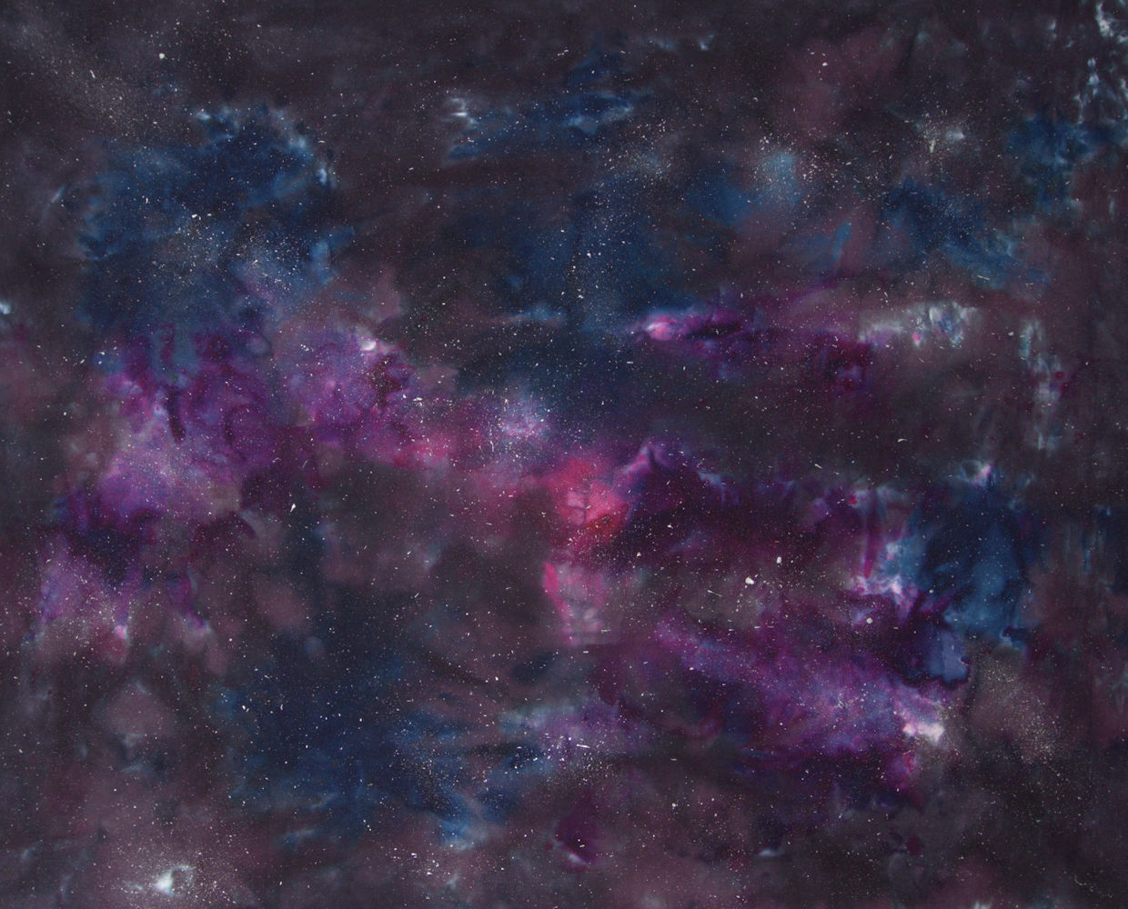 Black, blue, purple and pink galaxy dyed on fabric