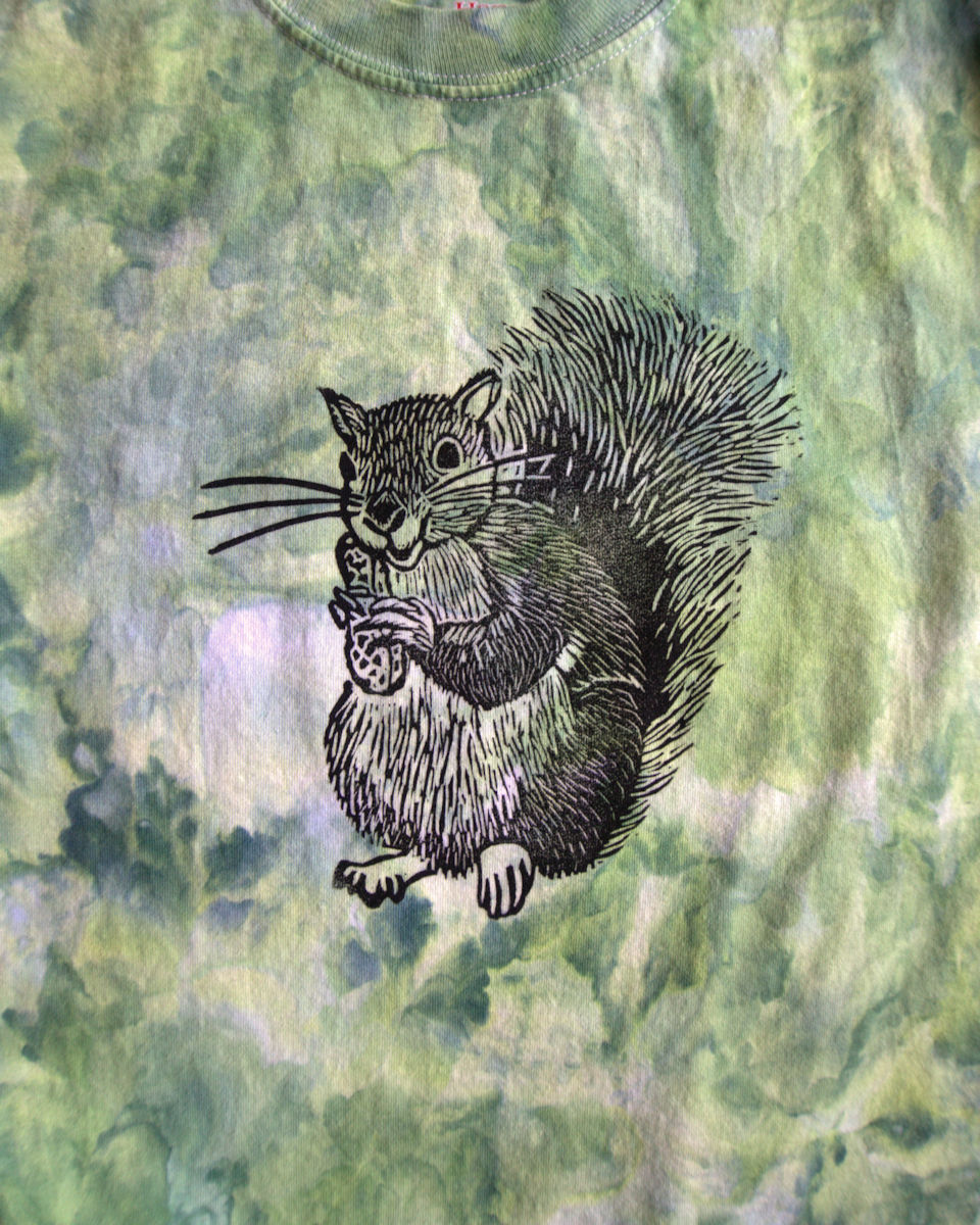 Squirrel print on ice dyed t-shirt