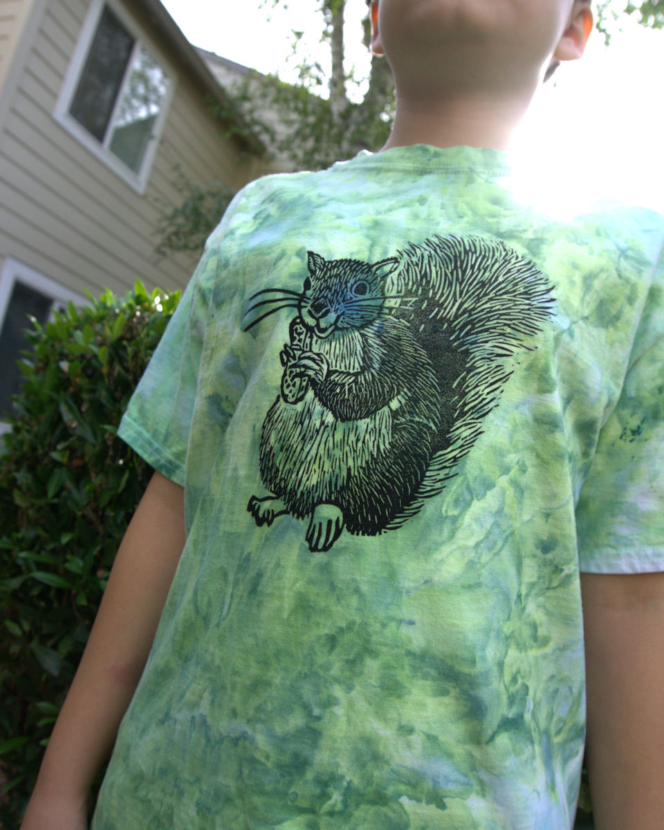 Squirrel stamped on ice dyed t-shirt