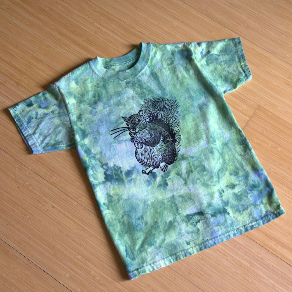 Squirrel stamp on ice dyed t-shirt