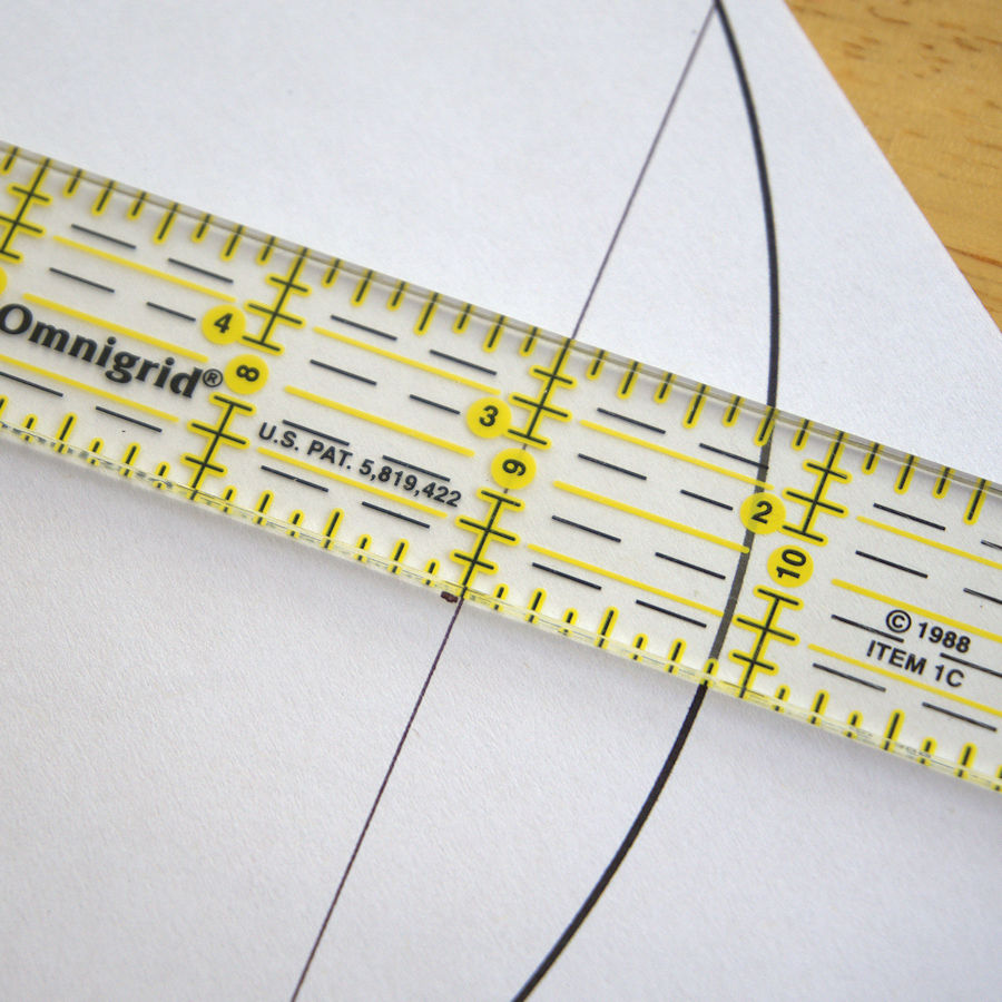Lining up chord midpoint with quilting ruler