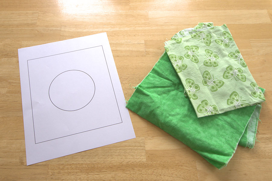 Printed circle with two pieces of coordinating green fabric
