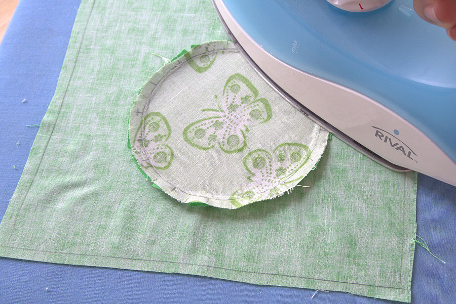Ironing butterfly circle fabric with seam out