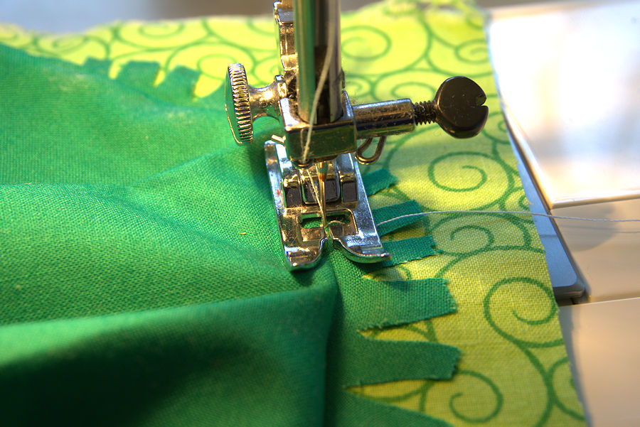 Sewing along the crease of the circle
