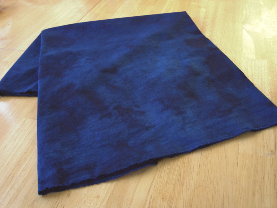 Dark blue mottled hand dyed fabric