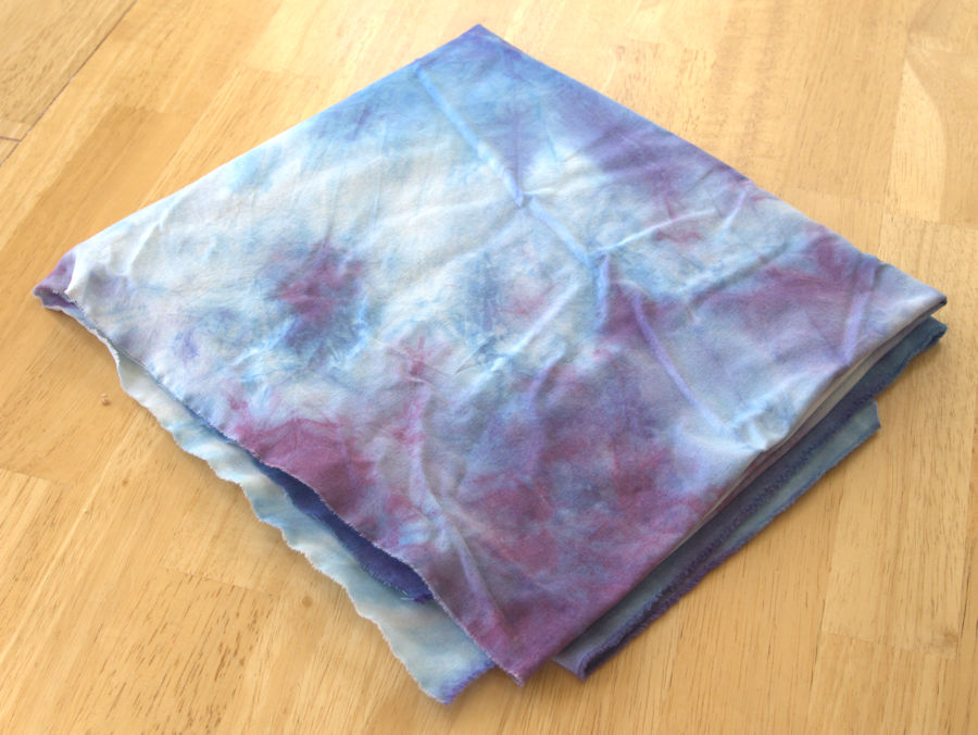 Plum, light blue, and white hand dyed fabric