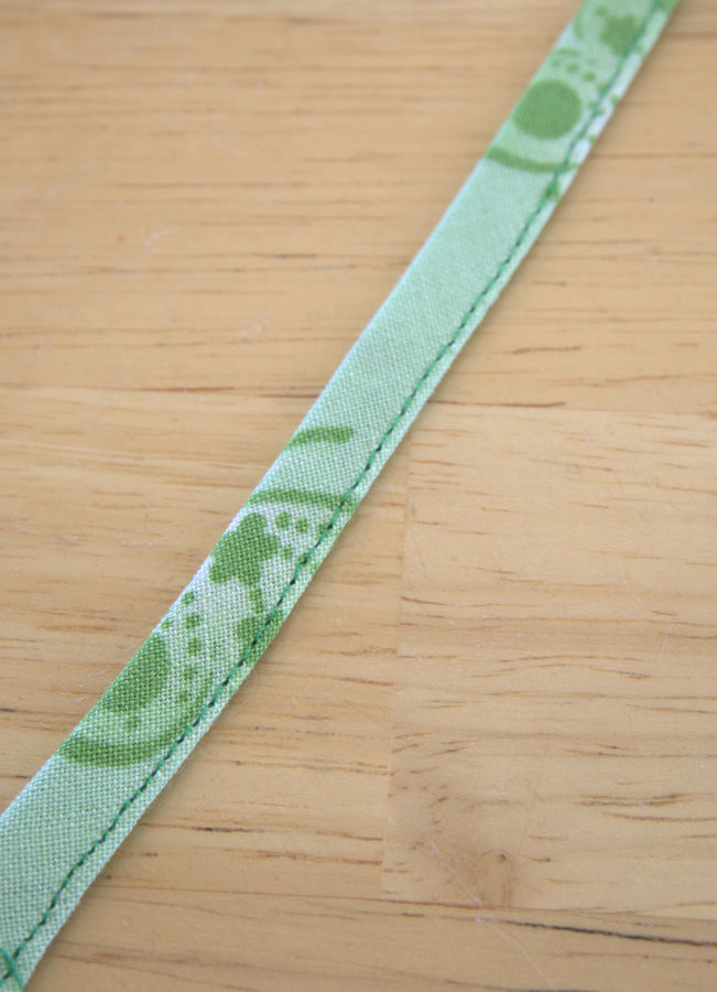 Sewn green strip of fabric
