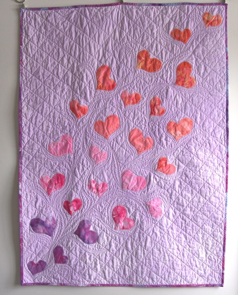 Flowing heart quilt
