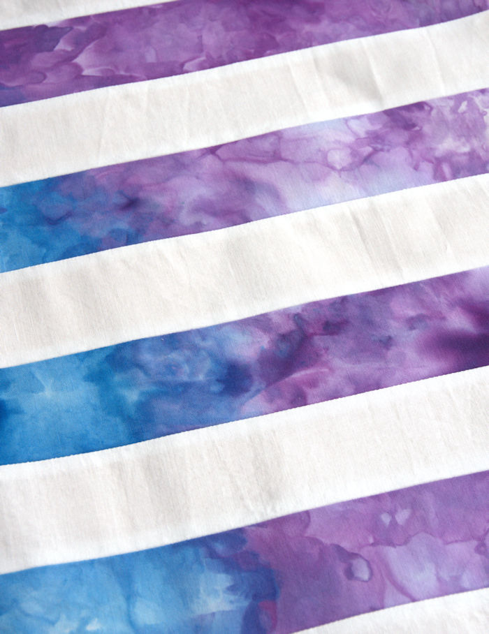 Purple and blue ice dyed rainbow strips