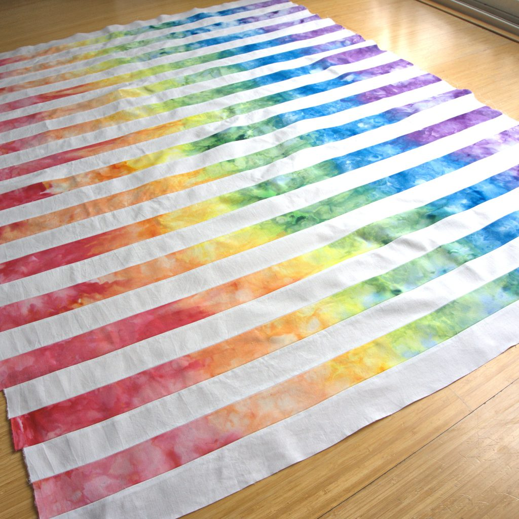 Ice dyed rainbow gradient strip quilt