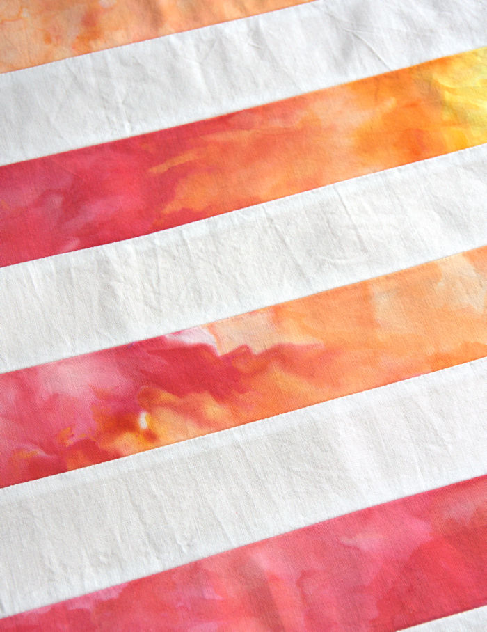 Red and orange ice dyed rainbow strips