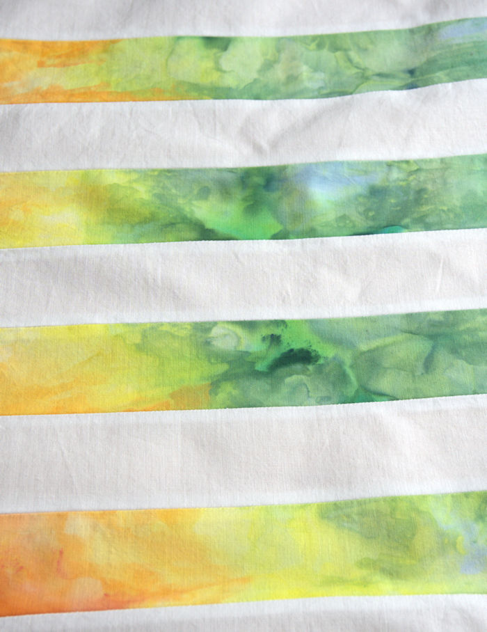 Yellow and green ice dyed rainbow strips