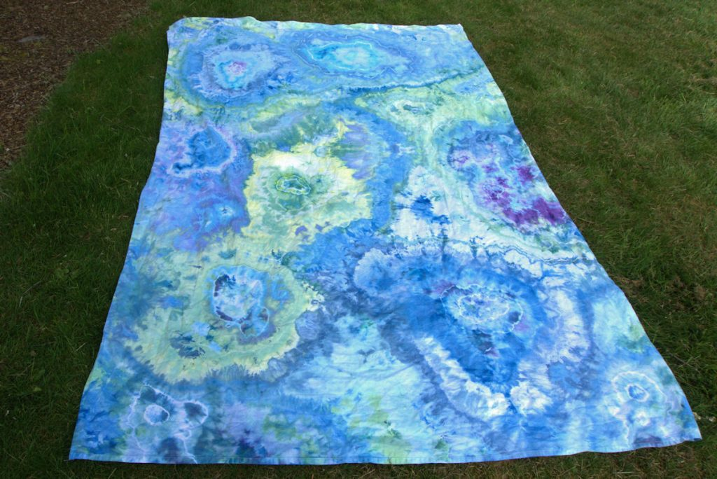 Blue and green geode dyed sheet