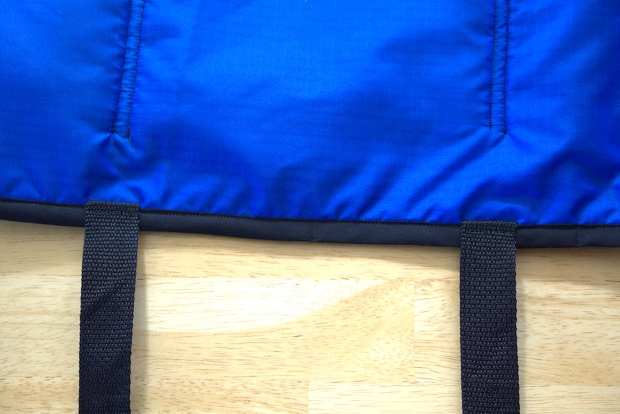 Webbing attached to car organizer and sewn up