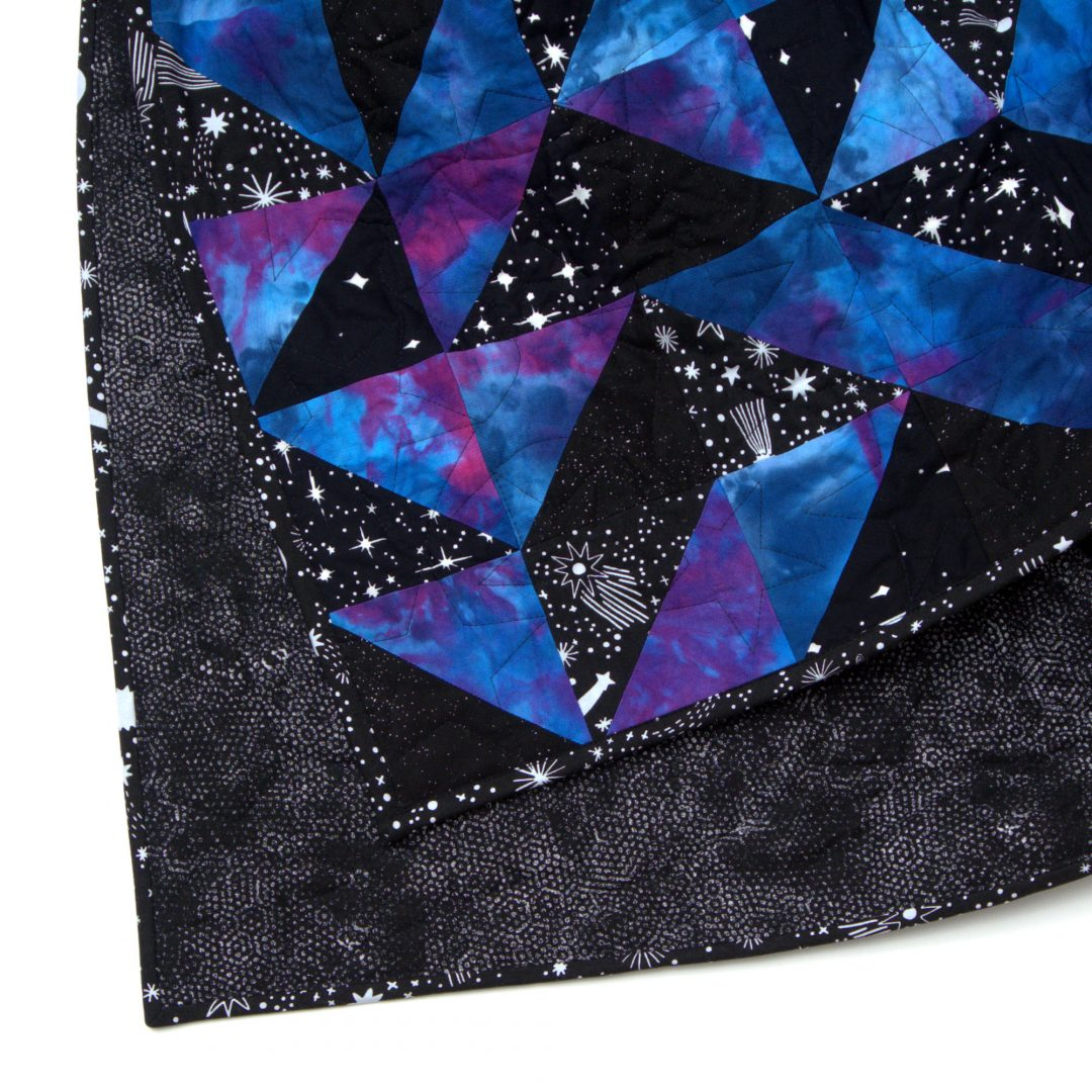 Glorious Galaxy Quilt corner and backing