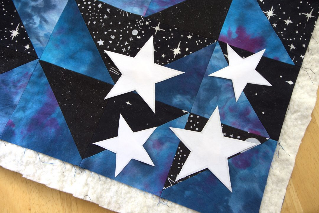 Star templates on galaxy quilt
