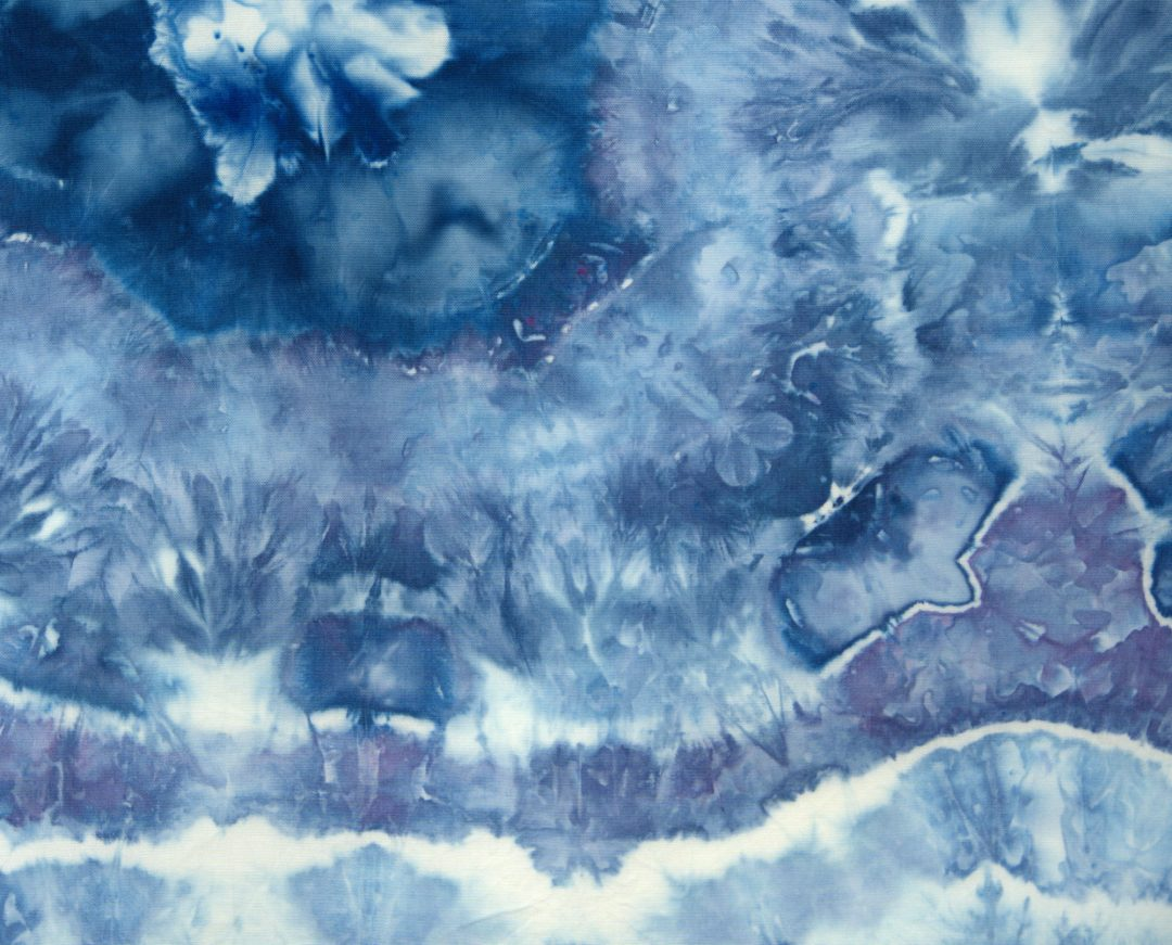 Blue geode ice dyed fabric