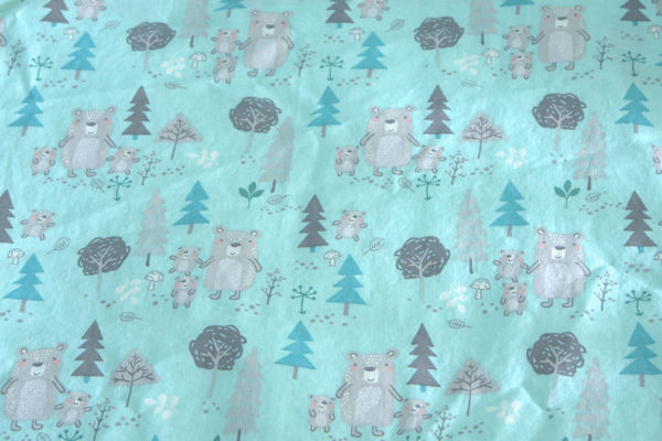 Green blue bears crib sheet fabric