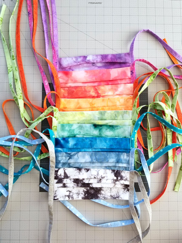Rainbow of hand dyed fabric masks