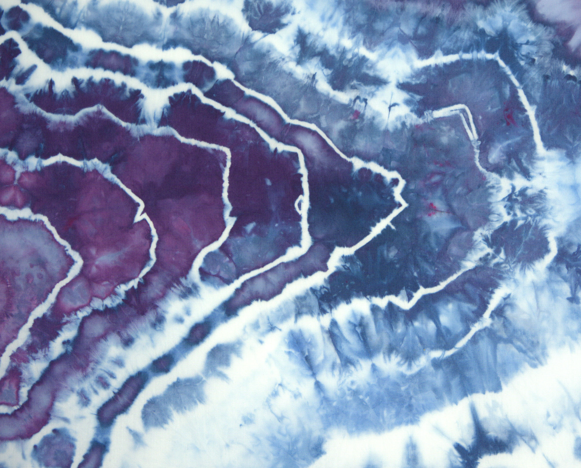 Purple and blue geode dyed fabric with white lines