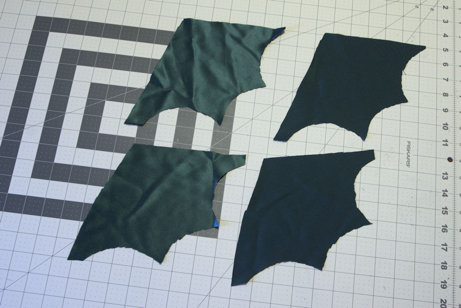Four green wing fabrics