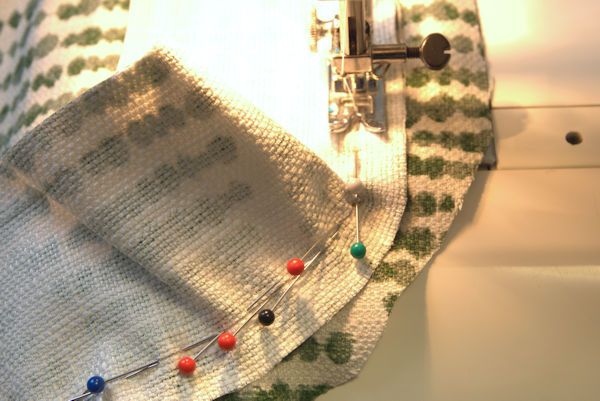 Sewing side of chair cushion