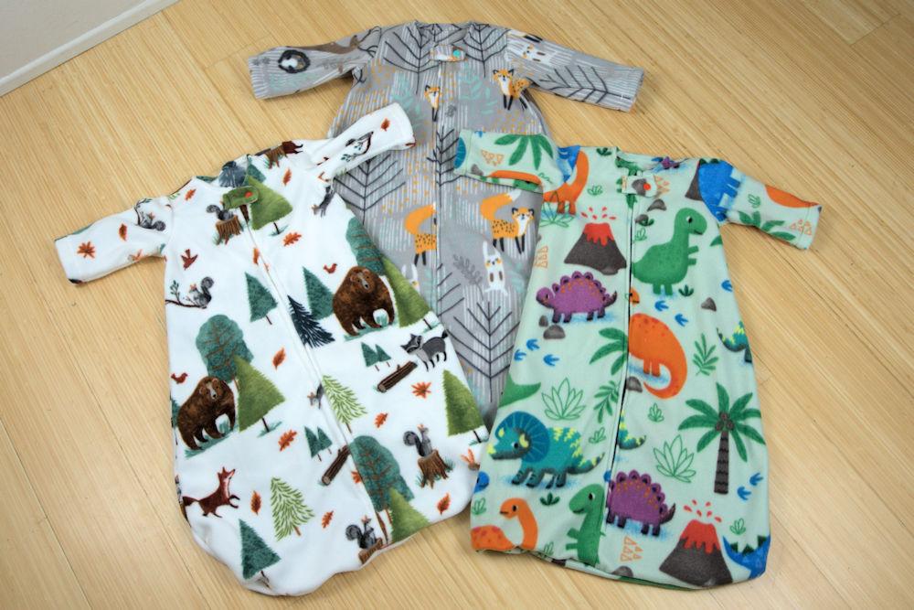 Forest and dinosaur baby sleep sacks