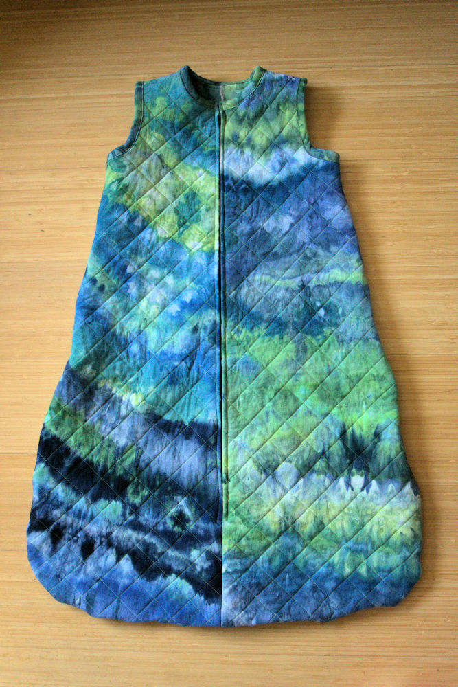 Blue and green ice dyed quilted baby sleep sack