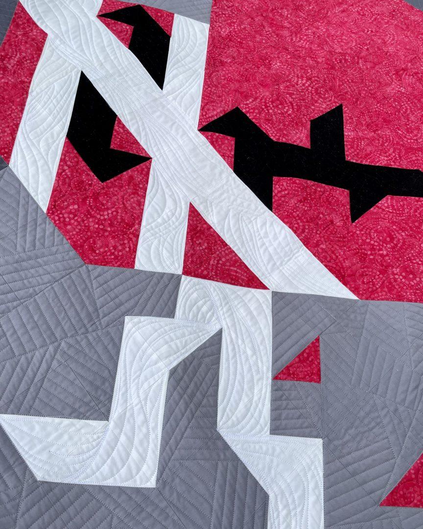 Close up of broken heart quilt
