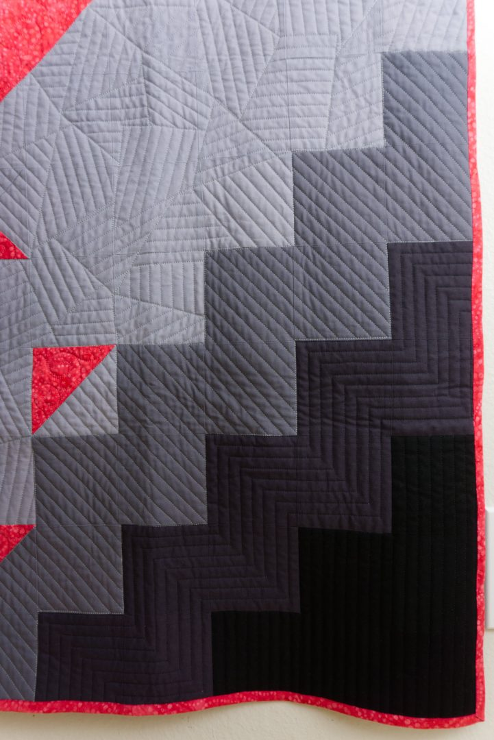 Black and gray corner of quilt