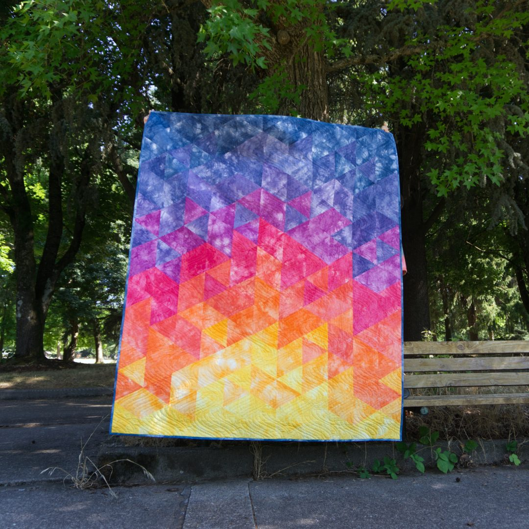 Dazzling dream sunset quilt top